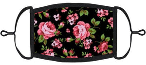 ADULT SIZE - Pink Roses Fabric Face Mask - Washable & Reusable - IN STOCK