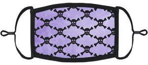 ADULT SIZE - Purple Skulls Fabric Face Mask - Washable & Reusable - IN STOCK