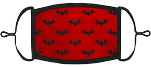 ADULT SIZE - Red Bats Fabric Face Mask - Washable & Reusable - IN STOCK