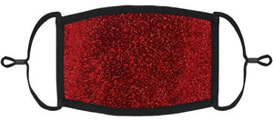 ADULT SIZE - Red Glitter Fabric Face Mask - Washable & Reusable - IN STOCK