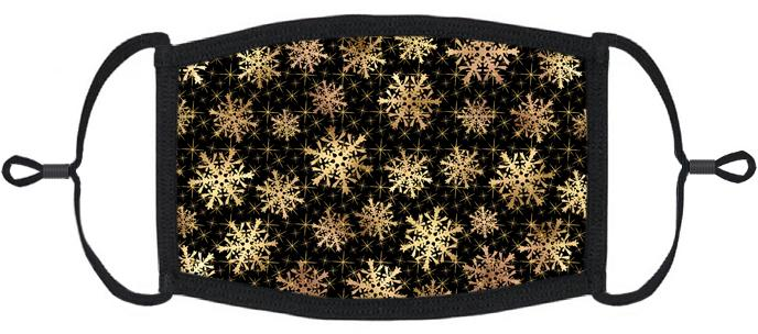 ADULT SIZE - Gold Snowflakes Fabric Face Mask - Washable & Reusable - IN STOCK