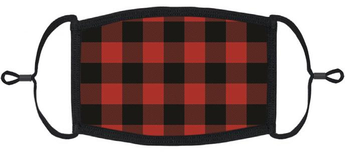 XLARGE ADULT SIZE - Adjustable Ear Loop - Red Buffalo Plaid Fabric Face Mask - Washable & Reusable - IN STOCK