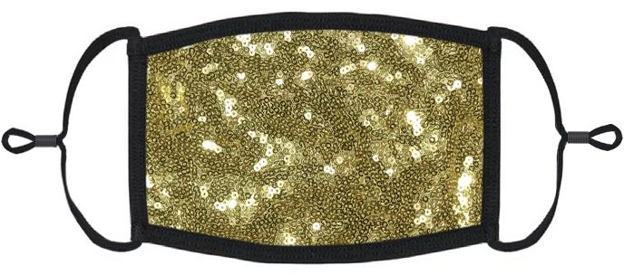ADULT SIZE - Gold Sequin Fabric Face Mask - Washable & Reusable - IN STOCK