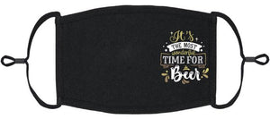 "ADULT SIZE - ""It's the most wonderful time for Beer"" Fabric Face Mask - Washable & Reusable - IN STOCK"