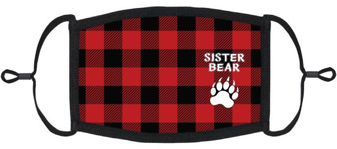 "YOUTH SIZE - ""Sister Bear"" Fabric Face Mask - Washable & Reusable - IN STOCK"