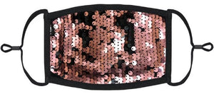 YOUTH SIZE - Rose Gold/Black Flip Sequin Face Mask - Washable & Reusable - IN STOCK