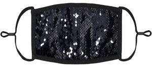 ADULT SIZE - Black/Black Flip Sequin Fabric Face Mask - Washable & Reusable - IN STOCK