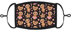 ADULT SIZE - Gingerbread Fabric Face Mask - Washable & Reusable - IN STOCK