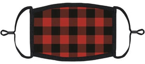 YOUTH SIZE - Red Buffalo Plaid Fabric Face Mask - Washable & Reusable - IN STOCK