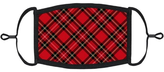 YOUTH SIZE - Red Plaid Fabric Face Mask - Washable & Reusable - IN STOCK