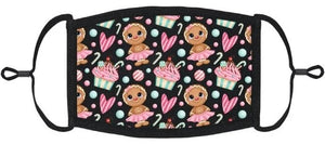LITTLE KIDS SIZE - Adjustable Ear Loops - Gingerbread Fabric Mask - Washable & Reusable - IN STOCK