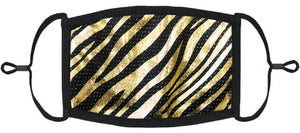 ADULT SIZE - Gold Foil Animal Print Face Mask - Washable & Reusable - IN STOCK