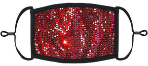 ADULT SIZE - Red Foil Polka Dot Print Face Mask - Washable & Reusable - IN STOCK