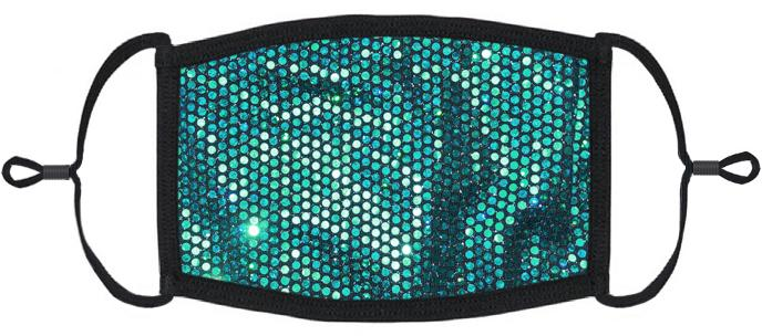 ADULT SIZE - Teal Foil Polka Dot Print Face Mask - Washable & Reusable - IN STOCK