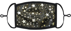 ADULT SIZE - Silver Stars Foil Print Face Mask - Washable & Reusable - IN STOCK