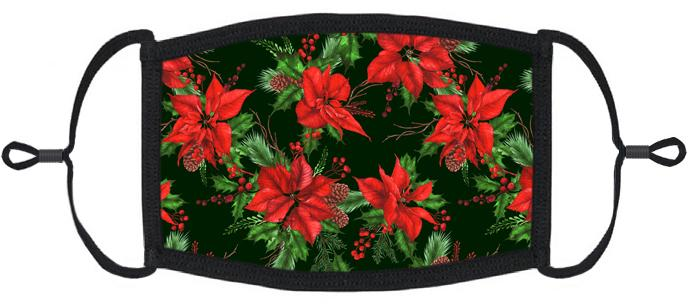 ADULT SIZE - Poinsettias Fabric Face Mask - Washable & Reusable - IN STOCK