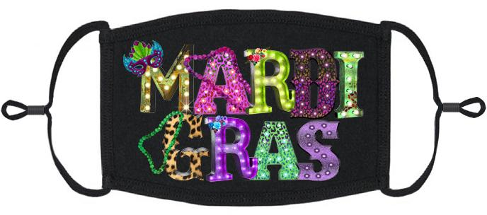 ADULT SIZE - Mardi Gras Fabric Face Mask - Washable & Reusable - IN STOCK
