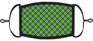 ADULT SIZE - Green Plaid Fabric Face Mask - Washable & Reusable - IN STOCK