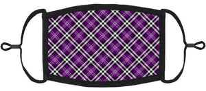 ADULT SIZE - Purple Plaid Fabric Face Mask - Washable & Reusable - IN STOCK