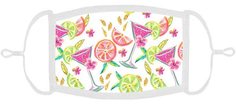 ADULT SIZE - Cocktails Fabric Face Mask - Washable & Reusable - IN STOCK