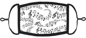 ADULT SIZE - Musical Notes Fabric Face Mask - Washable & Reusable - IN STOCK