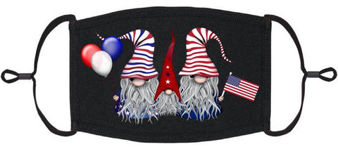 ADULT SIZE - Patriotic Gnomes Fabric Face Mask - Washable & Reusable - IN STOCK