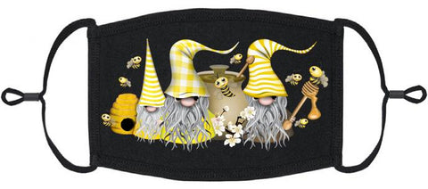 ADULT SIZE - Bees Gnomes Fabric Face Mask - Washable & Reusable - IN STOCK