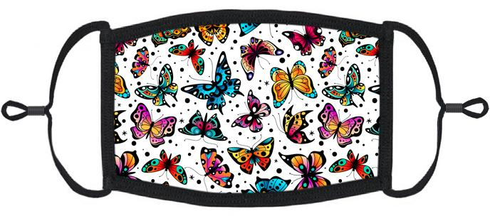 ADULT SIZE - Colorful Butterflies Fabric Face Mask - Washable & Reusable - IN STOCK