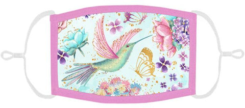 ADULT SIZE - Hummingbird Fabric Face Mask - Washable & Reusable - IN STOCK
