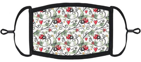 ADULT SIZE - Ladybugs Fabric Face Mask - Washable & Reusable - IN STOCK