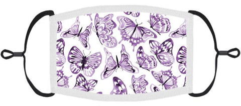ADULT SIZE - Purple Butterflies Fabric Face Mask - Washable & Reusable - IN STOCK