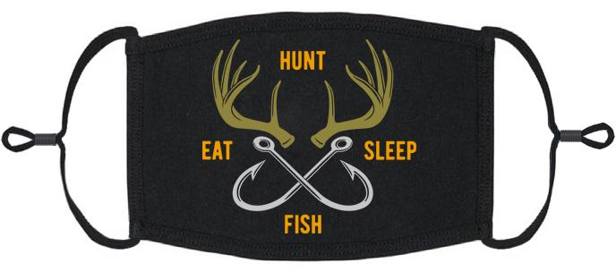 "ADULT SIZE - ""Hunt, Fish, Eat, Sleep"" Fabric Face Mask - Washable & Reusable - IN STOCK"
