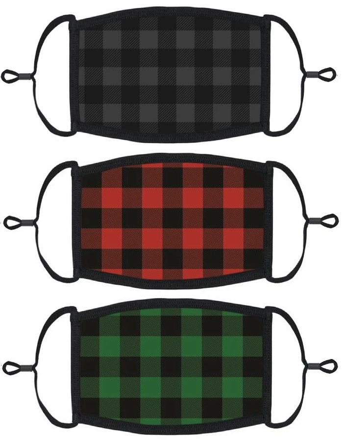 3 PACK ADULT SIZE - Buffalo Plaid Face Masks - Washable & Reusable - IN STOCK