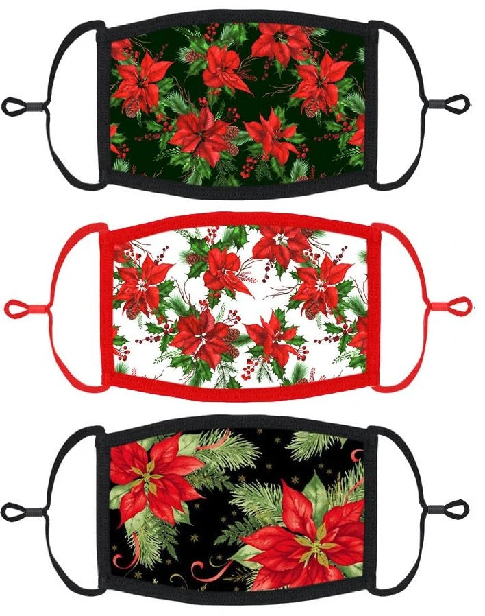 3 PACK ADULT SIZE - Poinsettias Face Masks - Washable & Reusable - IN STOCK