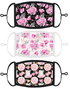 3 PACK ADULT SIZE - Shabby Chic Face Masks - Washable & Reusable - IN STOCK