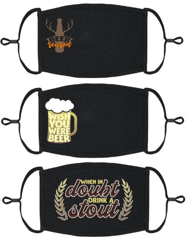 3 PACK ADULT SIZE - Beer Face Masks - Washable & Reusable - IN STOCK