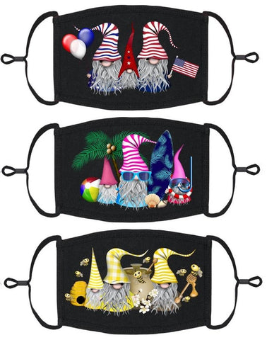3 PACK ADULT SIZE - Gnomes Face Masks - Washable & Reusable - IN STOCK