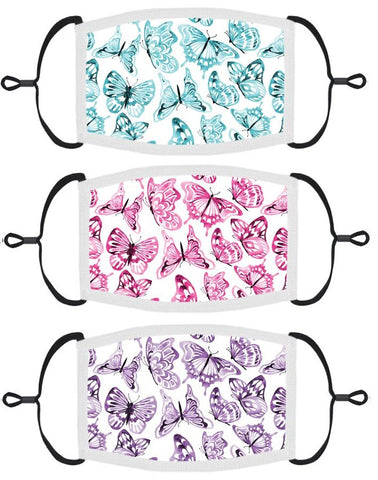 3 PACK ADULT SIZE - Butterflies Face Masks - Washable & Reusable - IN STOCK