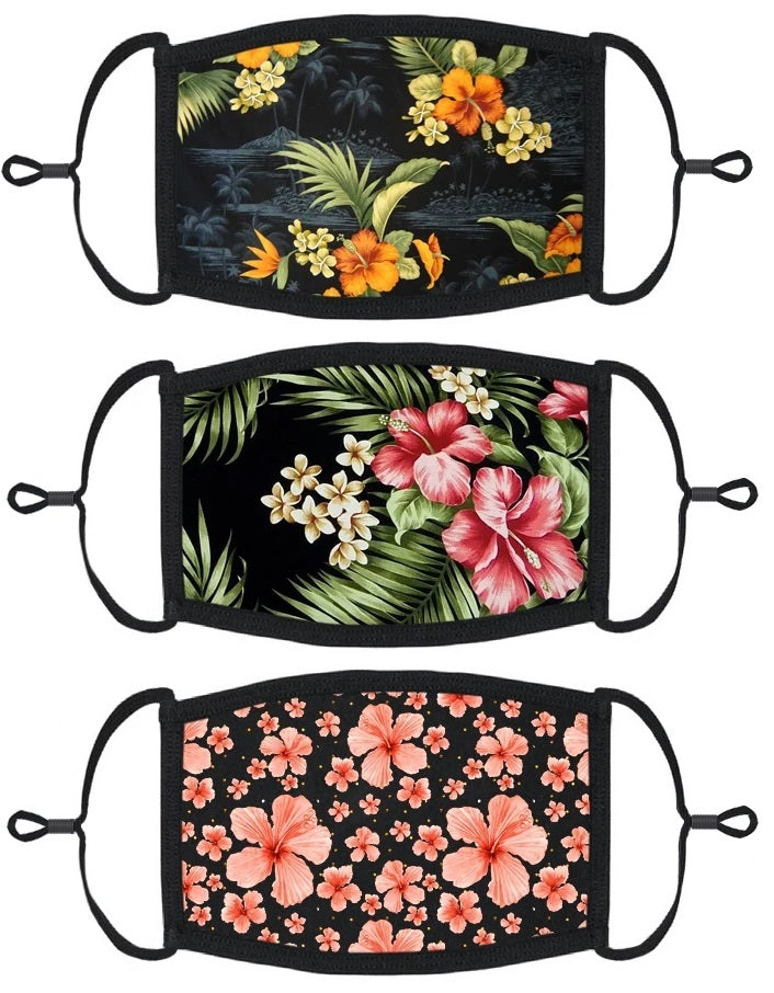 3 PACK ADULT SIZE - Hawaiian Face Masks - Washable & Reusable - IN STOCK