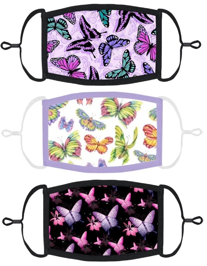 3 PACK ADULT SIZE - Butterfly Face Masks - Washable & Reusable - IN STOCK