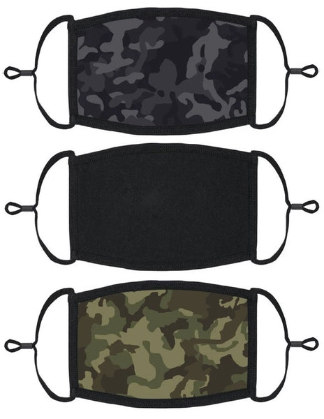 3 PACK ADULT SIZE - Mens Designs Face Masks - Washable & Reusable - IN STOCK