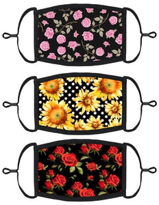 3 PACK ADULT SIZE - Floral Face Masks - Washable & Reusable - IN STOCK