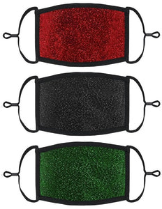 3 PACK ADULT SIZE - Glitter Face Masks - Washable & Reusable - IN STOCK