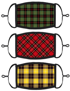 3 PACK ADULT SIZE - Plaid Face Masks - Washable & Reusable - IN STOCK