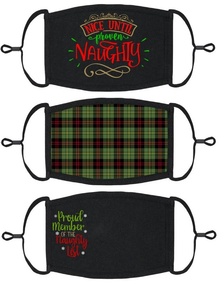3 PACK ADULT SIZE - Naughty Face Masks - Washable & Reusable - IN STOCK