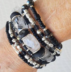 Clear Quartz Rutilated with Black Tourmaline Crystals Bracelet