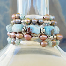 Load image into Gallery viewer, Caribbean Blue Larimar Gemstone Bracelet with Colorful Freshwater Pearls