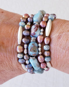 Caribbean Blue Larimar Gemstone Bracelet with Colorful Freshwater Pearls