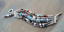 Load image into Gallery viewer, Black Blue and Red All Over Bracelet