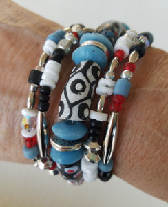 Black Blue and Red All Over Bracelet